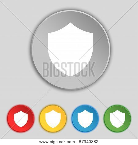 Shield, Protection Icon Sign. Symbol On Five Flat Buttons. Vector