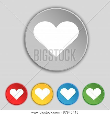 Heart, Love Icon Sign. Symbol On Five Flat Buttons. Vector
