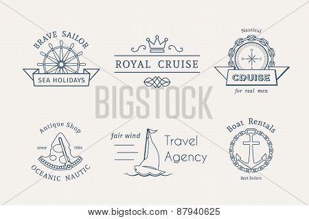 Vector retro nautical logo templates