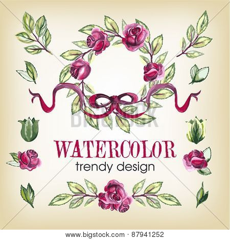 Watercolor Floral Set of Design Elements, Including Rose Flowers, Leaves, Wreaths.