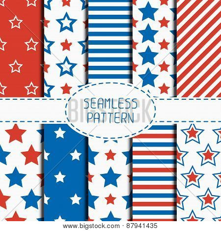 Set of geometric patriotic seamless pattern with red, white, blue stars. American symbols. USA flag.