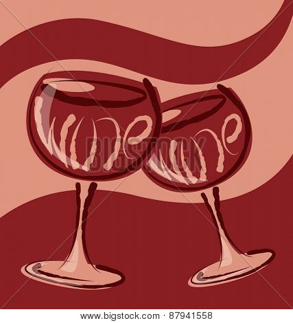 vector glass of wine with calligraphic inscription