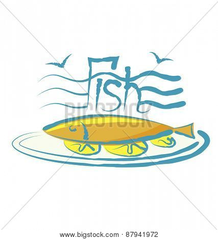 vector fish with calligraphic inscription and aroma