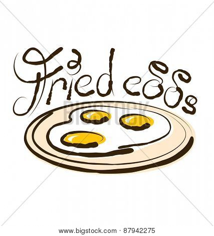 vector fried eggs with calligraphic inscription and aroma