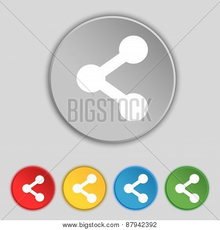 Share Icon Sign. Symbol On Five Flat Buttons. Vector