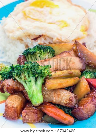 Pork stir-fried broccoli and chili food