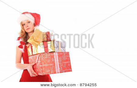 Miss Santa Is Losing One Gift Box - Rectangle Crop