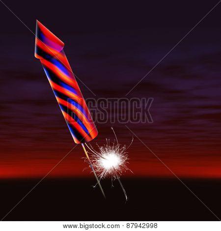 firework rocket with fuse lit