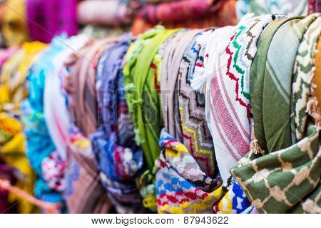 traditional Arab scarves in the market