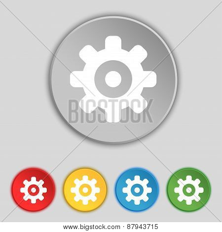 Cog Settings, Cogwheel Gear Mechanism Icon Sign. Symbol On Five Flat Buttons. Vector