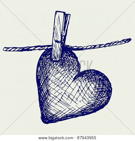 Heart in clothesline