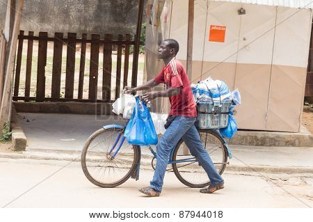 Street seller of plastic bags.