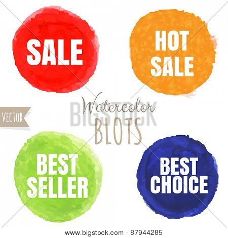 Watercolor Sale Blobs, Vector Illustration