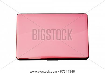 pink laptop white background