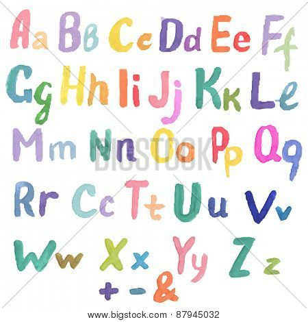Watercolor Alphabet, Vector Illustration