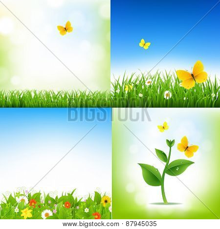 Spring Nature Backgrounds With Grass Border And Flowers With Gradient Mesh, Vector Illustration