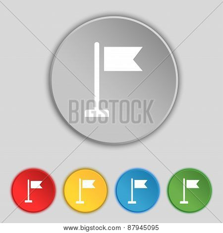 Flag Icon Sign. Symbol On Five Flat Buttons. Vector