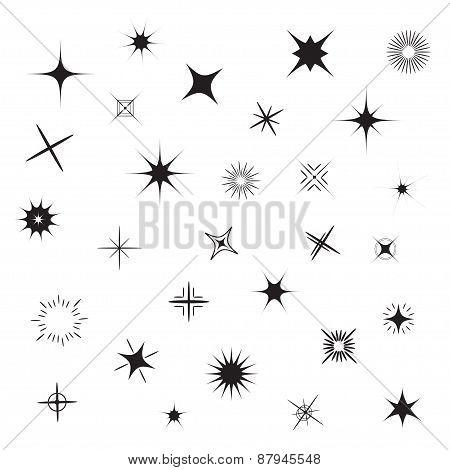 Stars Sparkles Black Symbol Set