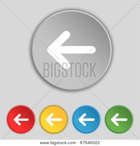 Arrow Left, Way Out Icon Sign. Symbol On Five Flat Buttons. Vector
