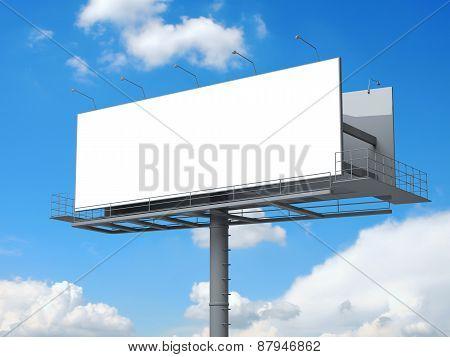 Billboard with empty screen on blue sky
