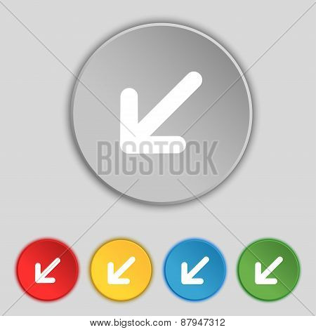 Turn To Full Screenicon Sign. Symbol On Five Flat Buttons. Vector
