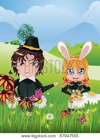 Easter Boy And Girl