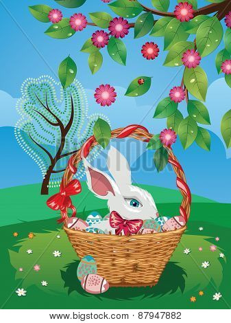 Easter Bunny With Eggs In The Basket