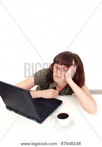 Portrait Of Tired Woman Sleeping At Laptop