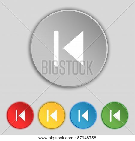 Fast Backward Icon Sign. Symbol On Five Flat Buttons. Vector