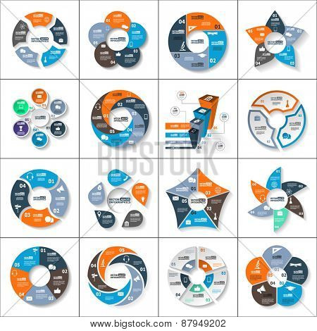 Modern paper infographics set for e-business, diagrams, charts, web sites, mobile applications, banners, corporate brochures, book covers, layouts, presentations etc. Vector eps10 illustration