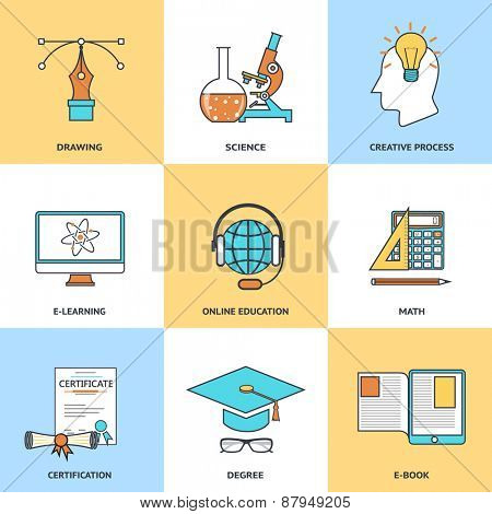 Modern education line icons set in flat design for web site development, mobile applications, banners, corporate brochures, book covers, layouts etc. Vector eps10 illustration