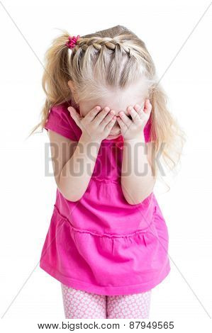 Child Girl Cover Her Face With Her Hand Isolated