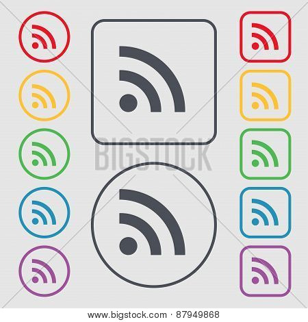 Wifi, Wi-fi, Wireless Network Icon Sign. Symbol On The Round And Square Buttons With Frame. Vector