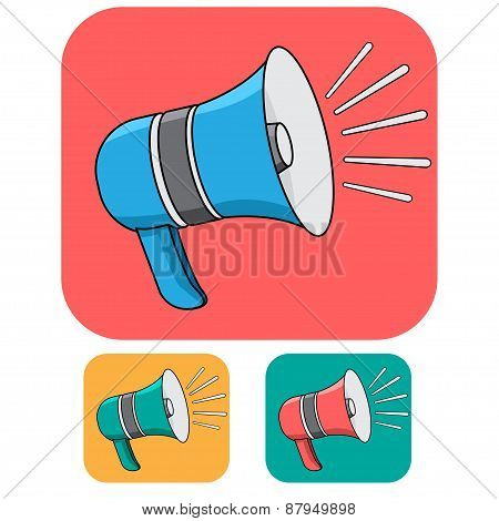 Loud Speaker Cartoonic Vector Icon Design