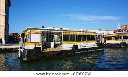 The Ferrovia Boat Stop In Venice, Italy.