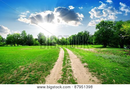 Sun and country road