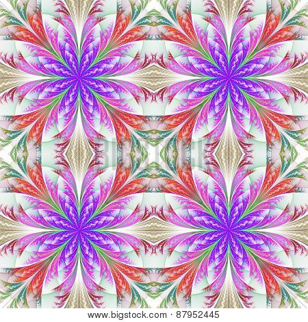 Beautiful Pattern From Fractal Flowers. Blue And Purple Palette. Collection - Frosty Pattern. Comput