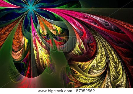 Diagonal Asymmetrical Multicolor Fractal Tracery. Collection - Frosty Pattern. On Black.