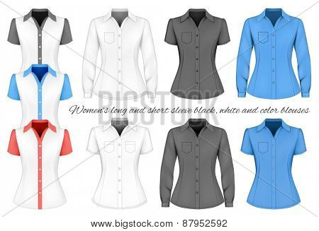 Short and long sleeve blouses for lady. Vector illustration.