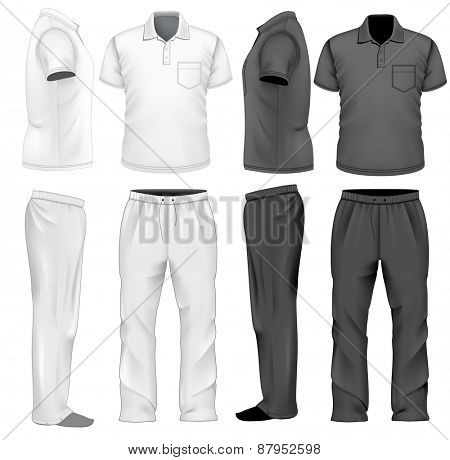 Men's white and black sweatpants and polo-shirt. Vector illustration.