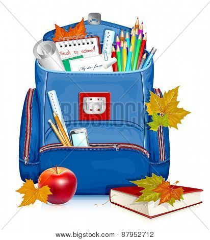 School bag with education objects.Back to school! Vector illustration