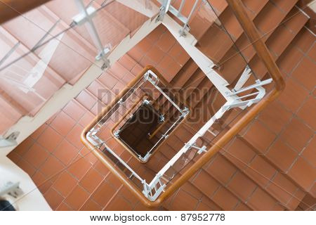 Top angle view of staircase going down