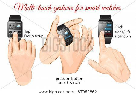 Multi-touch gestures for smart-watch. Vector illustration