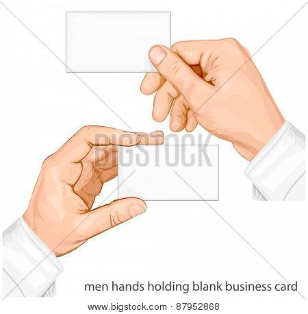 Hands holding blank business cards. vector illustration