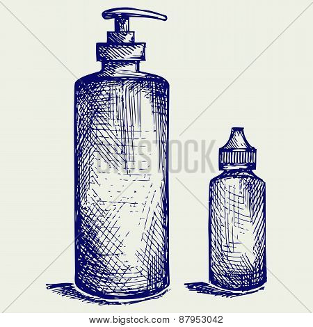 Hygiene products in plastic bottles