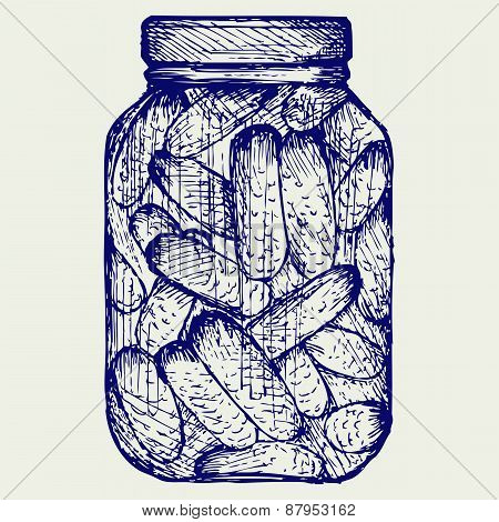 Preserved cucumbers in a jar