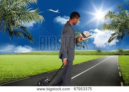 Young businessman pulling his suitcase against road leading out to the horizon