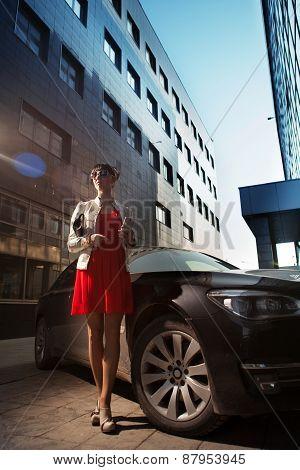 Beautiful Young Businesswoman Near Her Car.