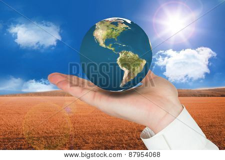 Hand presenting against sunny brown landscape