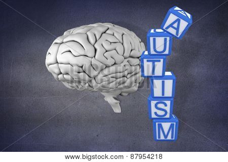 Autism building blocks against purple vignette